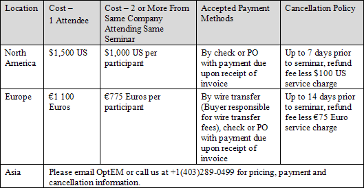 OptEM Cable Designer Training Fees